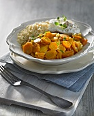 Carrot curry with rice