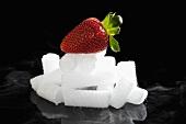 Strawberry on dry ice