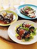 Three different aubergine dishes