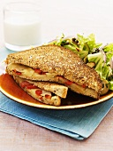 Toasted cheese and pepper sandwich with salad leaves