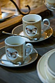 Two cups of espresso on tray