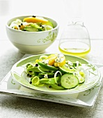 Cucumber and avocado salad with peach and blue cheese