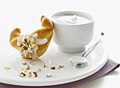 Iced croissant with hazelnuts