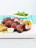 Beef fillet with grilled onions