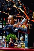 Frau mixt Cocktails in der Bar