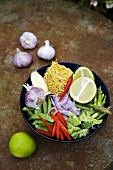 Ingredients for Thai noodle soup
