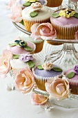 Wedding cupcakes on tiered stand