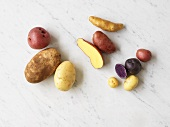 Various types of potatoes on marble background