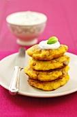 Pumpkin patties with yoghurt dip