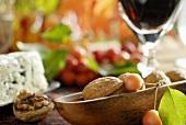 Walnut, wine and blue cheese