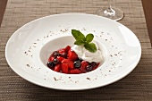 Berry compote with vanilla cream