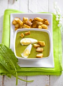 Sorrel soup with boiled egg and croutons