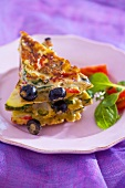 Courgette frittata with black olives