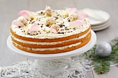 Almond cake with rose petals for Christmas