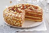 Chocolate cake with almonds for Christmas