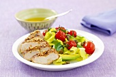 Chicken breast with avocado and cocktail tomatoes