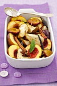 Baked fruit with cinnamon, vanilla and star anise
