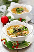 Salmon soup with dried mushrooms (Christmas)