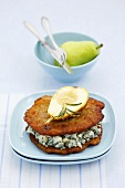 Potato pancakes with blue cheese and pear
