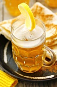 Hot beer and flatbread with cinnamon