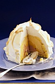 Iced bombe, a portion removed