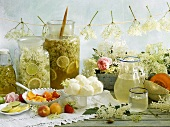 Still life with various elderflower products