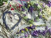Various different lavender wreaths