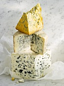 Roquefort, Fourme d'Ambert and Shropshire Blue