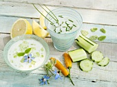 Tzatziki and yoghurt and chive dip with vegetables