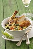 Chicken leg with spinach rice