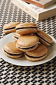 Coffee macarons with chocolate cream filling