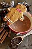 Lebkuchenfigur auf Kakaotasse (weihnachtlich)