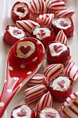 Assorted red and white peppermint sweets