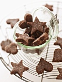 Heart- and star-shaped chocolate biscuits