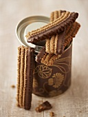 Chocolate biscuits with a biscuit tin