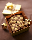 Checkerboard biscuits in a gift box