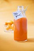 Multivitamin juice in bottle with label