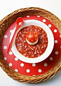 Tomato soup with rice and fly agaric (egg with tomato cap)