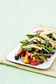 Vegetable salad with grilled haloumi