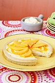 Mango tart, a piece removed