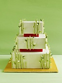 Wedding cake with bamboo