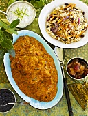 Indian chicken curry with fried rice