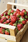 Strawberries in a fruit crate