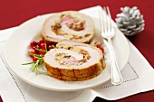 Roast pork roll with almond and raisin stuffing (Christmas)