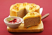 Veal pie with cranberry and horseradish sauce