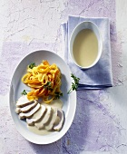 Chicken breast with Toulouse sauce and tagliatelle