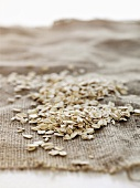 Rolled oats on jute