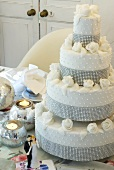 Wedding cake on table with decorations