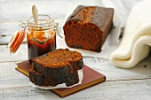 Ginger cake with plum jam