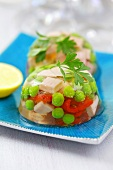 Ham, peas and red peppers in aspic